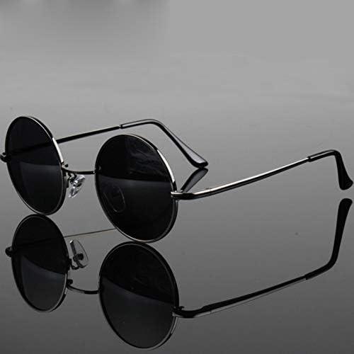 Vintage Rétro Hommes Femmes Rond Cadre en Métal Lunettes de soleil Lunettes Eyewear Noir Lentille