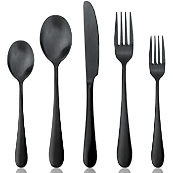 Black Silverware Set AOOSY 1 Set 18/10 Stainless Steel Matte Titanium Black Cutlery  sc 1 st  Amazon.com & Amazon.com | Black Silverware Set AOOSY 1 Set 18/10 Stainless Steel ...
