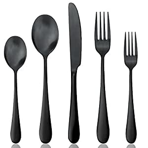 Amazon Com Black Silverware Set Matte Black Flatware