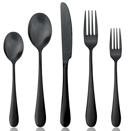 (Black Silverware Set, Matte Black Flatware Set, AOOSY Heavy Solid 20-Piece 18/10 Stainless Steel Flatware Cutlery Set for 4, Mirror Finish, Dishwasher Safe, Nice Box Package(A Matte Black Flatware))