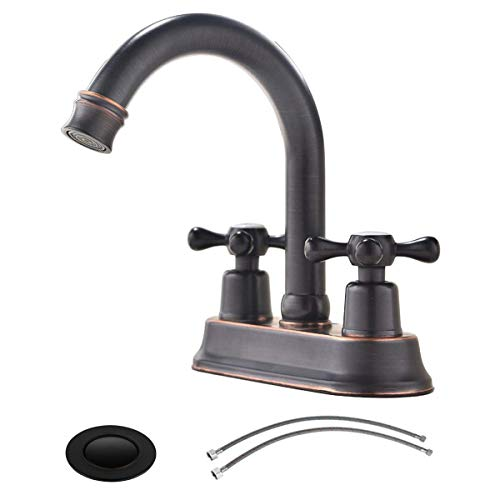 (Modern Oil Rubbed Bronze 2 Handle Centerset Stainless Steel bathroom faucet,Oil Rubbed Bronze Bathroom Sink Faucet with Drain Stopper and Water Hoses )