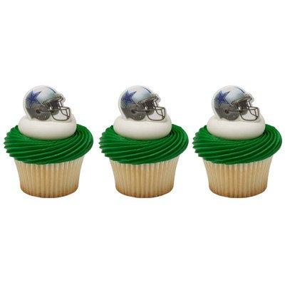 Dallas Cowboys Four (24 Dallas Cowboys Football Helmet Cupcake Rings by DecoPac)