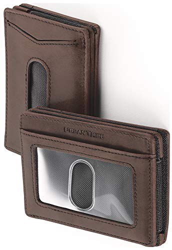 (Compact RFID Card Sleeve Wallet Premium Leather Money Clip Card Holder for Up to 10 Cards)