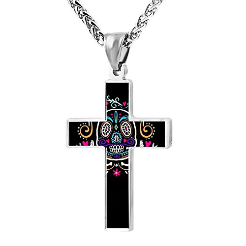 Kenlove87 Patriotic Cross Sugar Skull Religious Lord'S Zinc Jewelry Pendant Necklace (Necklace Dia Cross)