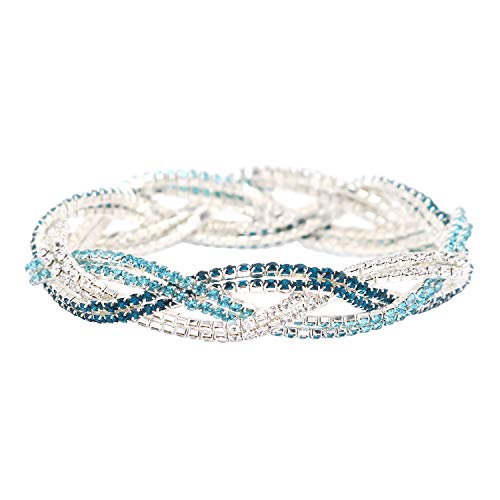 So Pretty Rhinestone Stretch Bracelet Silver Plated Blue Crystal Bridal Bracelet for Women
