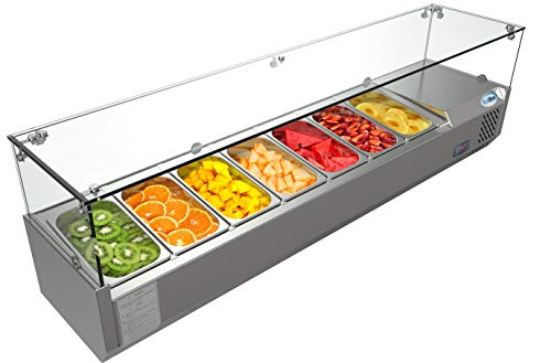 - KoolMore Refrigerated Countertop Condiment Prep Station with Glass Sneeze Guard - Includes Seven 1/4 Pans