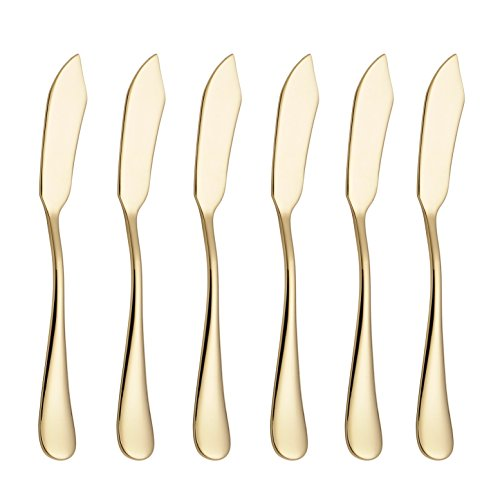 6-inch Stainless Steel Cheese Spreader Knives Set Table Silverware Dishwasher Safe, Packs of 6 (Gold) (Cheese Spreader Set)