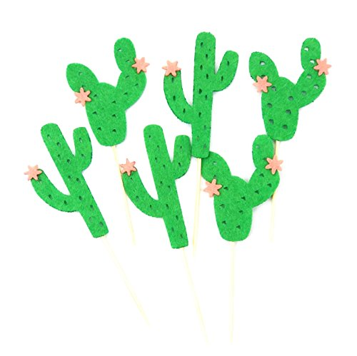 Astra Gourmet 24 pcs Cactus Cacti Cupcake Toppers Green Festive Party Theme Birthday Baby Shower Summer Holiday Party Decorations (Candy Wrappers Halloween Costume)