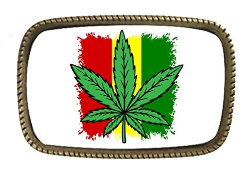 Green Leaf Cannabis Marijuana Belt Buckle
