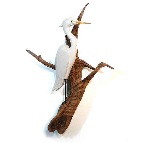 - Artistic Woodworking American Made Carved Wood Heron on Driftwood Wall Sculpture