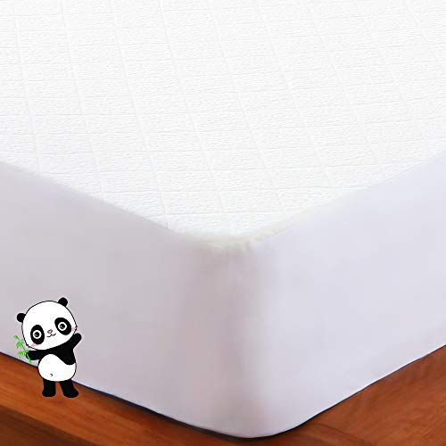 (BedStory Waterproof Mattress Protector Queen, Hypoallergenic Bamboo Fiber Mattress Cover, Premium Deep Pocket Fitted Sheet, 10 Years Warranty, Against Bed Bugs, Dust mite, Cooling Mattress Protector)