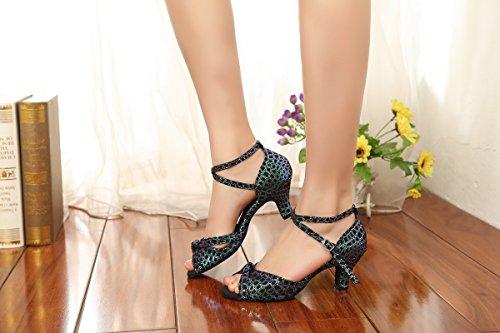 Minitoo - Zapatillas de danza para mujer Blue-6cm Heel