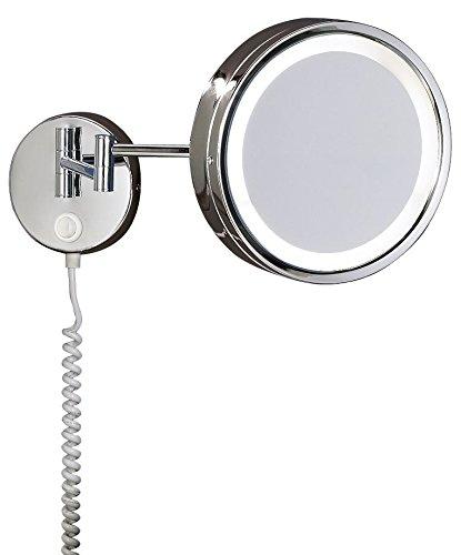 Trio Leuchten LED Bad Kosmetikspiegel Reflon beleuchtet in Chrom, 3-fach Vergrößerung, mit Spiralkabel und Schalter, 282670106