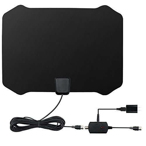 HDTV Antenna, Digital TV Antenna Advanced Amplified HD Signal Booster Reception Technology 60-80 Miles HDTV Antenna with Amplifier and Coaxial Cable (Black)