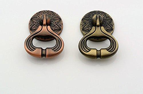Dresser Drop Ring Drawer Knob Pull Handle Bronze Red Kitchen Cabinet Door Cupboard (Red - 0.75' Knob