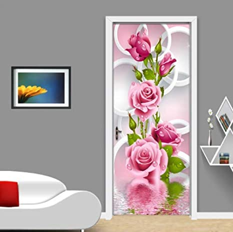 Flfk 3d Circle Rose Flower Self Adhesive Door Wallpaper Murals Wall Stickers Peel And Stick Door Poster For Home Decoration Vinyl Removable Art Decal Kitchen Dining