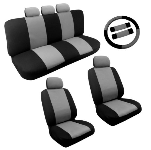 Dual Color Gray/Black Racing Stripe Accent Car Seat Cover Set 14pc - Front Pair Rear Bench Steering Wheel Cover 5 Headrests (Accent Custom Color)
