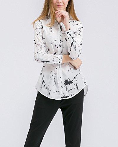 Mujer Impresión Floral de la Gasa de la Manga de la Camiseta Larga de la Blusa de las Tapas Blanco