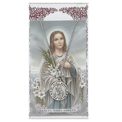 Saint Maria Goretti 3/4-inch Pewter Medal Pendant Necklace with Holy Card (Saint Maria Medal Goretti)