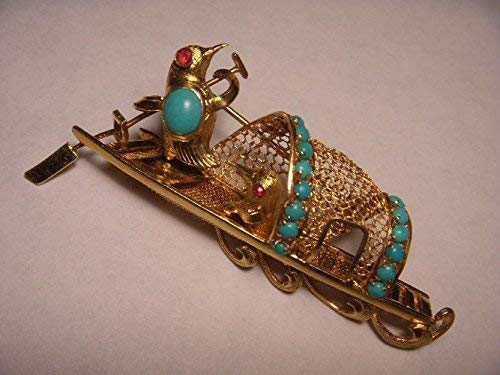 Gorgeous Designer 14K Yellow Gold Ruby Turquoise Lovebirds Boat Brooch Pin ()