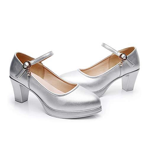 5cm Mode Femme Bureau 5 Mary Haut Boucle Travail Classique Jane Chaussures Formel EscarpinsStrappy Plateforme Fermé Talon Pompes Argent Bout Gtagain xoedWrBC