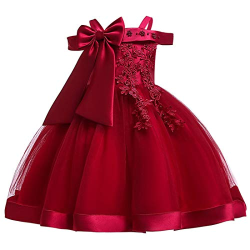 Fowy Dresses for Girls 7T 8 Burgundy Knee Length Bridesmaid Wedding Dress Size 8 Girl Formal Party Pageant Tutu Dress Ball Gowns Size 7 Flower Elegant Dress Frocks Sundress for Girls (Burgundy 140), 8-9 Years -