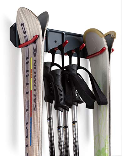 Wall Mounted Storage Rack Organizer for Skis and Poles - Heavy Duty Horizontal Wall Ski Rack Storage with Metal Frame and Padded Hooks - Indoors | Outdoors Premium Wall Storage Ski (Medium) ()