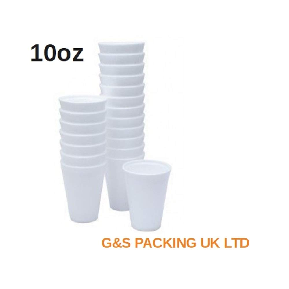 10oz White Polystyrene Foam Thermal Cups Hot Drinks (100) G&S PACKING UK LTD