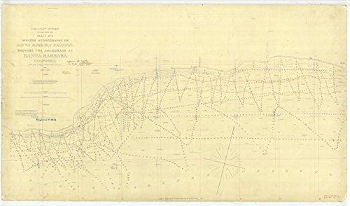 Vintography 24 x 36 Giclee Print Nautical Map Image Santa Barbara Channel Showing The Anchorage at Santa Barbara Sheet No. 4 1869 NOAA 30a