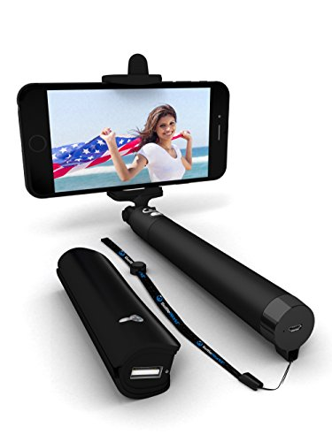 Premium 3-In-1 Bluetooth Selfie Stick (Powered by USA Technology) Plus Portable Charger & Remote Shutter - Wireless HD Monopod For iPhones, Samsung Galaxy, Most Android Phones (Apple Iphone 4s Accesories compare prices)
