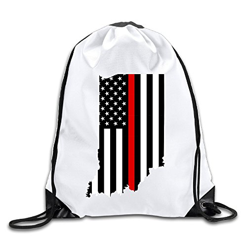 Indiana Red Line Flag 100% Polyester Fiber Drawstring Tote Bag One Size