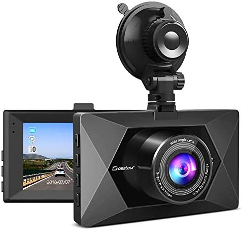 Crosstour Dash Cam 1080P FHD Mini in Car Dashboard Camera with Park Mode, G Sensor, F1.8 Super Big Aperture, 3 Inch LCD, 170 Wide Angle, WDR, Motion Detection, Loop Recording