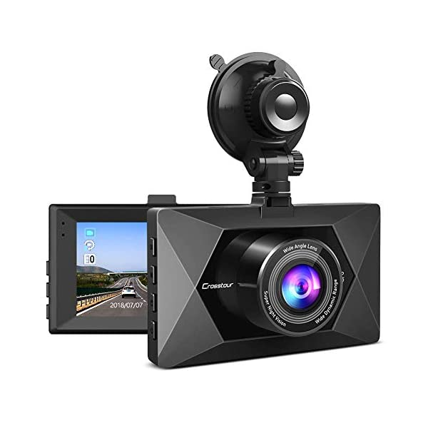 Crosstour Dash Cam 1080P FHD Mini in Car Dashboard Camera with Park Mode, G Sensor, F1.8 Super Big Aperture, 3 Inch LCD, 170°Wide Angle, WDR, Motion Detection, Loop Recording(CR350)