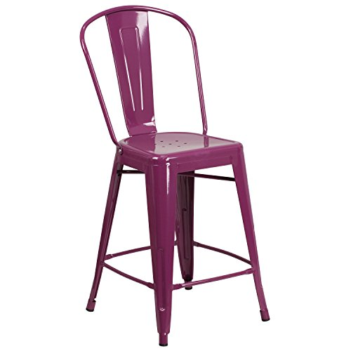 Flash Furniture ET-3534-24-PUR-GG Colorful Restaurant Counter 24 Purp Metal Outdoor Stool, 1 Pack, Purple
