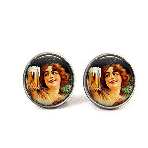 Beer Earrings - Vintage Beer Jewelry - Oktoberfest Earrings - Beer Ale Lover Gift - Girl Beer Stein - Bier Lover Earrings