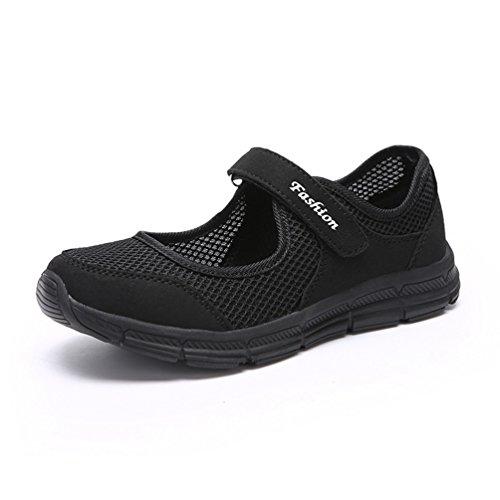JRenok Zapatillas de Running de Material Sintético Mujer Negro