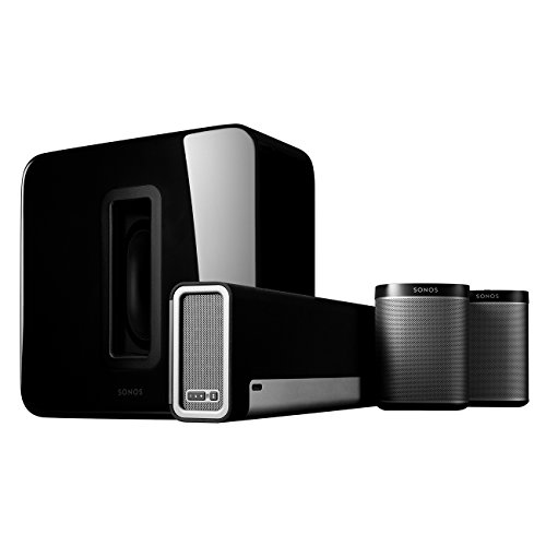 - Sonos 5.1 Home Theater System - Surround Sound System with Playbase, Sub and a set of two Play:1 Smart Speakers for TVs on stands or other furniture. Works with Alexa. (Black)