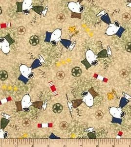 - 1/2 Yard - Peanuts Snoopy Military Hero Tossed on Tan Cotton Fabric - Officially Licensed (Great for Quilting, Sewing, Craft Projects, Throw Blankets & More) 1/2 Yard X 44