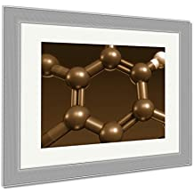 Ashley Framed Prints Thyroxine Hormone Structure, Wall Art Home Decoration, Sepia, 26x30 (frame size), Silver Frame, AG6071071