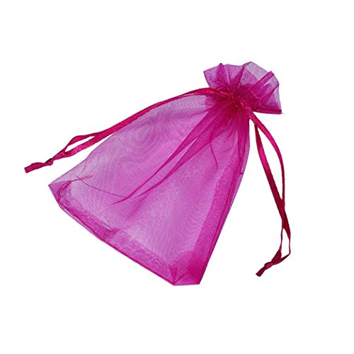 Candy Small Bag DZT1968 100pcs Organza Wedding Party Decoration Gift Candy Sheer Bags Pouches (Hot pink)