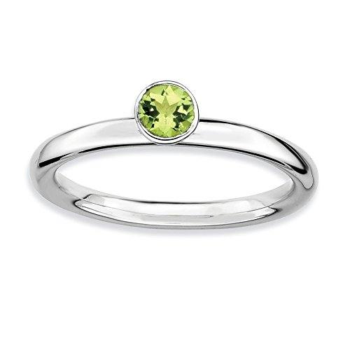 Top 10 Jewelry Gift Sterling Silver Stackable Expressions High 4mm Round Peridot Ring by Jewelry Brothers Rings