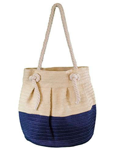 Price comparison product image Toya Straw Large Rope Handle Bucket Style Beach Bag Tote (NAVY)