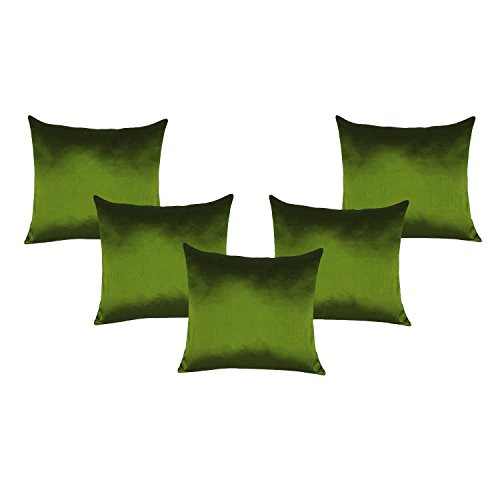 - Green Cushion Cover Lots of 5 Pcs Poly Taffeta Silk Pillow Sofa Bed Case Home Decor Art 14