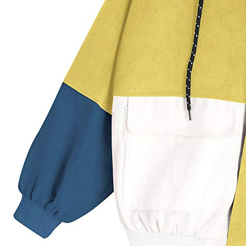 Corduroy Yellow Coat Long Windbreaker Patchwork Hoodie XOWRTE Sleeve Women Drawstring Jacket Cardigan Oversize Overcoat a qgAOxwX