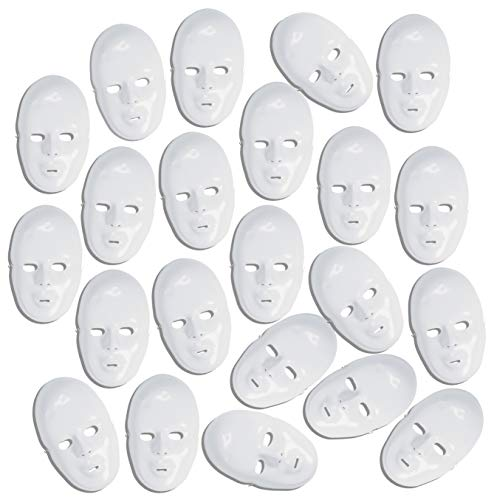 4E's Novelty 24 Bulk DIY Plastic White Full Face Party Masks Crafts Decorate & Design Your Own Mask -
