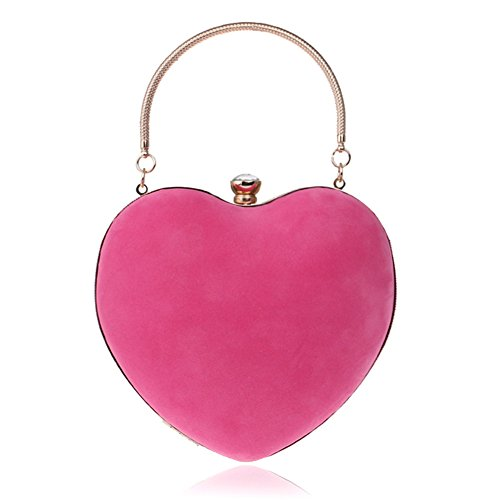 Clutches Mini and Ring Evening Handle Heart Women Red Purse with Suede Clutch Shape Party Bag Chain wR4AAI