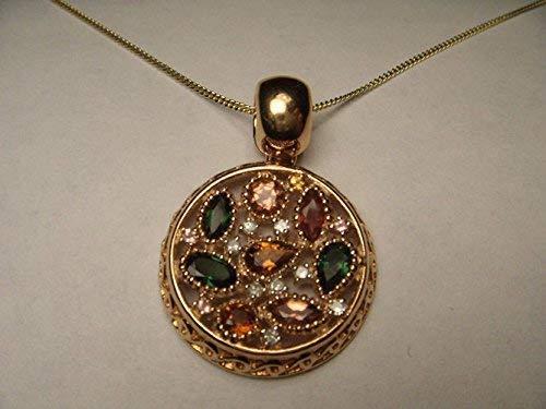 Rare Estate 18K Pink Rose Gold Tourmaline Diamond Citrine Designer Pendant - Gold Estate Pendant