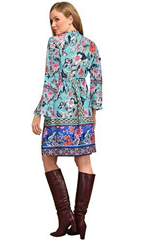 Longues Manches Femme Imprimée Idees 101 Robe Bleu qOaw17c0x