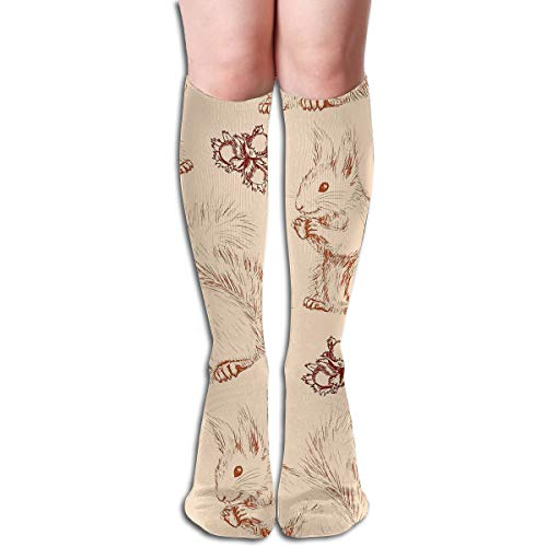 Bandnae 19.68 Inch Compression Socks Squirrel Nuts Animal High Boots Stockings Long Hose for Yoga Walking for Women Man