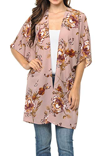 (Auliné Collection Womens USA Made Casual Cover Up Cape Gown Robe Cardigan Kimono SWSS1 Vintage FL Rose L)